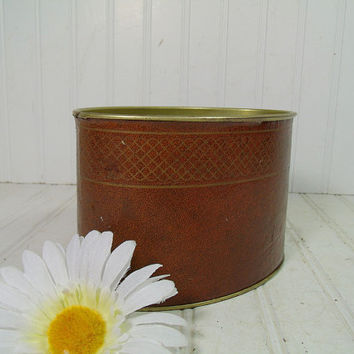 Vintage Saddle Brown Leatherette with Gold Tooling Metal Desk Bin - Mad Men Office Organizer Can - Retro Industrial Library Storage Accent