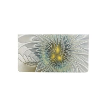 Golden Flower Fantasy, abstract Fractal Art Checkbook Cover
