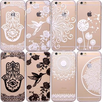 HENNA Paisley Tribal Tattoo Clear Hard Phone Case for iPhone 5S SE 6 6S 7 8 Plus
