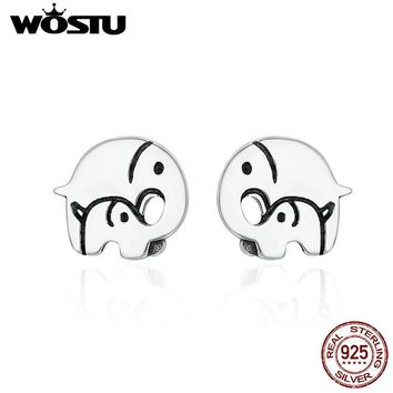 WOSTU Authentic 925 Sterling Silver Elephant Mother Family Love Stud Earrings For Women Luxury Original Jewelry Bijoux CQE182