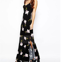 Fashion Black Floral Print Sleeveless V-Neck Maxi Dress = 4765112644