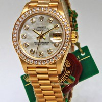 Rolex Datejust 18k Yellow Gold Factory Diamond MOP Ladies Watch 69138 Box/Papers