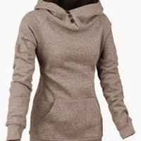 Casual Style Hooded Long Sleeve Front Pocket Design Khaki Hoodie