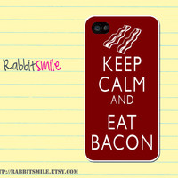 iPhone 5 Case, iPhone 4 case, iPhone 4s Cover , Hard Plastic iphone 5 Cover, cases - Keep Calm and Eat Bacon