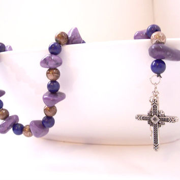 Purple Cross Bracelet, Christian Jewelry, Boho Jewelry