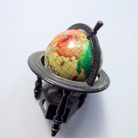 Vintage Die Cast Metal Globe Pencil Sharpener 1970s