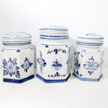 Set Of 3 French Vintage Spice Containers Porcelain Storage Jars