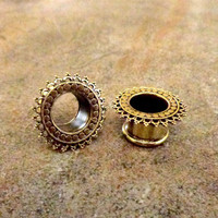 "Pair Antique Brass Plugs, Vintage Gauges, 2G 0G 00G 1/2"" 9/16"" 5/8"", Body Jewelry Nickel Free"