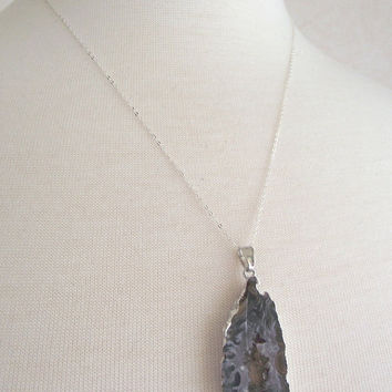 Dark Grey Agate Drusy Necklace, Sterling Silver Necklace, Druzy Jewelry OOAK, 20 inch silver chain
