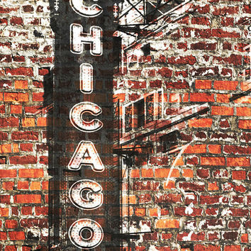 "Chicago 2, Extra Large Rustic Architectural Cityscape Canvas Art Print. Rustic Brown URBAN Canvas Art Print up to 72"" by Irena Orlov"