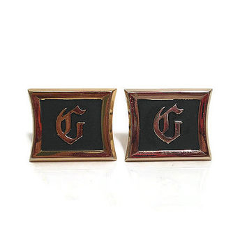 Black and Gold Tone Vintage Hickok Initial Letter G Cufflinks