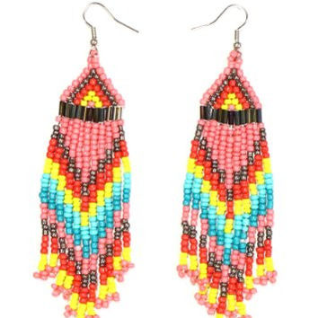 Pink Beaded Native Fringe Chandelier Earrings Dangling EE49 Tribal Statement Fashion Jewelry