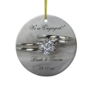 Wedding Rings Engagement Round Ornament from Zazzle.com