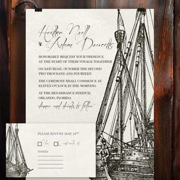 Instant Download-Pirate Ship Illustration Nautical Vintage DIY Printable Birthday Party Baby Shower Wedding Invitation RSVP Template
