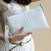 BEINISHI White Crocodile Pattern Leather Genuine Purses Bags Envelope Evening Clutch Bag  Women Messenger Bags Handbags Designer