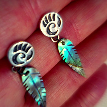 Native American Earrings - Signed Earrings - Beautiful Silver Paw Print with Carved Abalone Shell Feather Dangle - Unique Delicate Earrings