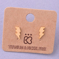 Tiny Lightning Bolt Stud Earrings - Gold, Rose Gold or Silver