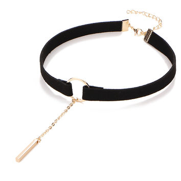 Velvet Choker Gold Silver Plated Round Circle Tassel Necklaces Black Leather Clavicle Chain Charm Women Jewelry Accessories