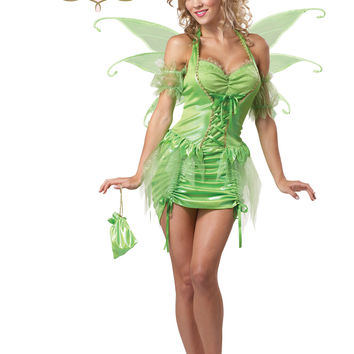 Sexy Tinkerbell Pixie Fairy Costume (2X,Green)
