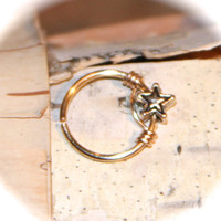 Star Cartilage Earrings, Star Charm Nose Ring, Ear Cuff, Helix Hoop, Nose Rings, Seamless or Latched Hoop, Piercing Jewelry