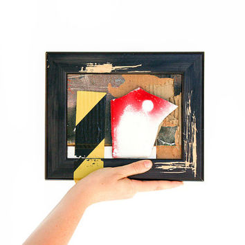 Small framed artwork / 3D art collage urban decay industrial home decor / unique contemporary art