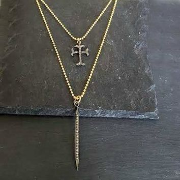 Pave Diamond Cross Tiny Gold Bead Chain Necklace