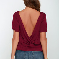 Scoop De Loop Burgundy Short Sleeve Top