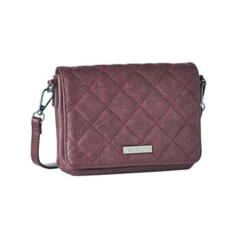 Vegan Quilted Mini Crossbody Purse - Wine
