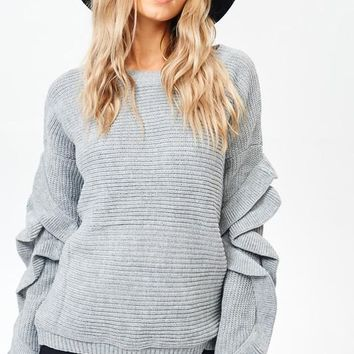 Trendy Ruffle Sleeve Sweater