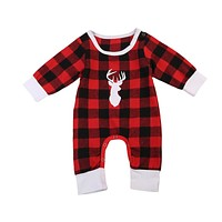 Deer Printing Baby Boy Girls Christmas Red Plaid Rompers Long Sleeve Cotton Jumpsuit Infant Baby Girls Boys Clothes