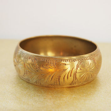 Vintage Indian Brass Cuff Bracelet - Carved Brass, Vintage Brass Bracelet