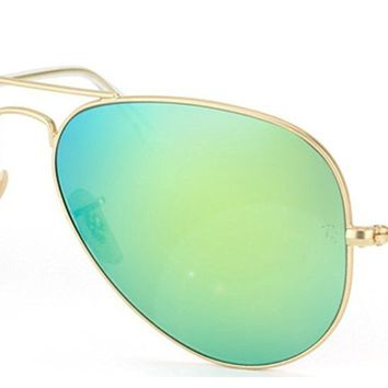 Cheap Ray-Ban RB3025 Aviator Sunglasses Matte Gold/Green Mirror 112/19 RB 3025 55mm outlet