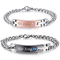 "Unique Gift for Lovers ""His Queen""""Her King "" Couple Bracelets Stainless Steel Bracelets."