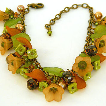 Autumn Lucite Flower Bracelet Handcrafted Czech Bead Pearls