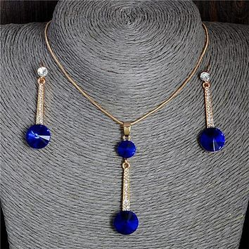 Blue Natural Stone Police Support Necklace and Earrings Set