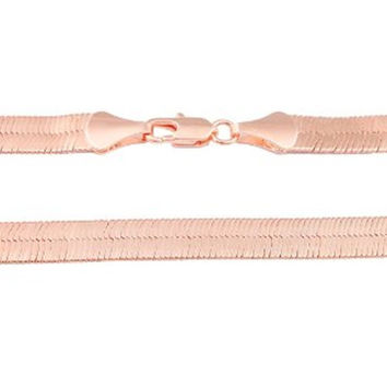 Rose Goldtone 9mm 18 Inch Herringbone Chain Necklace