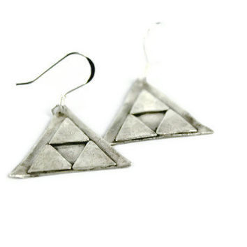 Triforce Earrings, Silver Triangle Earrings, Geometric Jewelry, Fine Silver