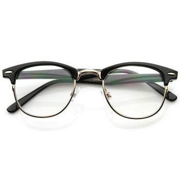 Day-First™ Black Horned Rim Clear Lens RX'able Half Frame Horn Rimmed Glasses