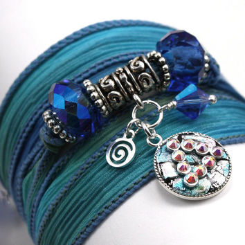 Hand Dyed Silk Wrap Bracelet - Blue Reef with 12 Step Recovery Unity Charm with Sapphire Swarovski Crystals