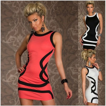 Women Sexy Fashion Bodycon Printing Slim Vest Mini Dresses Bandage Evening Cocktail Party Club Party Dress [9305598599]