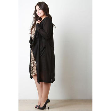 Chiffon Draped Longline Open Front Cardigan Jacket