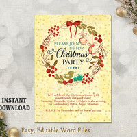 Printable Christmas Party Invitation Template - Wreath - Holiday Party Card - Christmas Card - Editable Template - Watercolor Gold DIY Stars