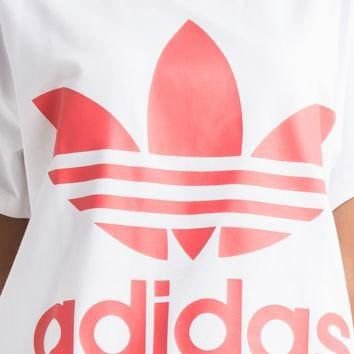 adidas Women's Relaxed Fit Big Trefoil Logo T-shirt in White Turbo