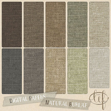 Burlap Digital Paper Pack / Jute / Canvas / Linen rustic backgrounds soft natural colors perfect for cards and backdrops and wedding design
