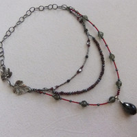Upcycled Victorian Style Garnet and Crystal Necklace