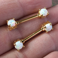 White Opal Gold Nipple Ring Nipple Piercing Nipple Jewelry