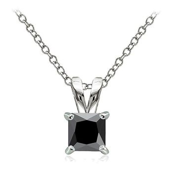 925 Sterling Silver 1.25ct Black Cubic Zirconia 6mm Square Solitaire Necklace
