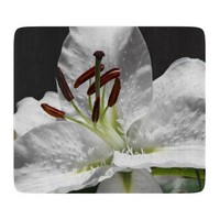 White Stargazer Lily Glass Cutting Board