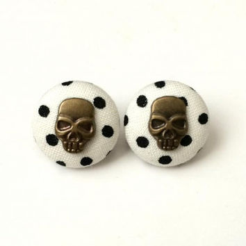 Polka dot skull fabric button earrings