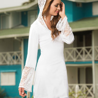 White Crochet Lace Hoodie Cover up-Summer Dresses